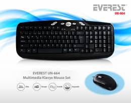 EVEREST UN-664 USB Siyah Multimedia Klavye - Mouse Seti